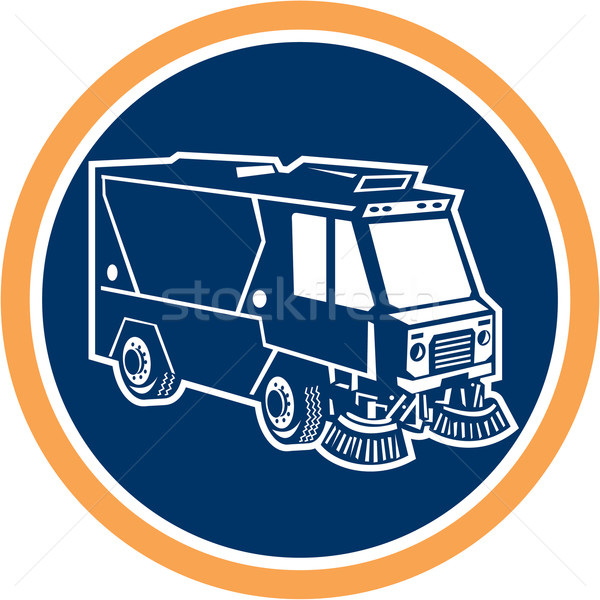 Straat schonere vrachtwagen cirkel retro illustratie Stockfoto © patrimonio