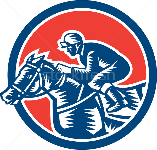 Jockey Horse Racing Circle Woodcut Retro Stock photo © patrimonio