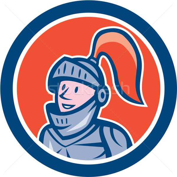 Rycerz głowie zbroja kółko cartoon ilustracja Zdjęcia stock © patrimonio
