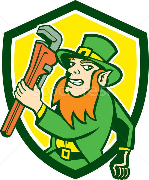 Leprechaun Plumber Wrench Running Shield Stock photo © patrimonio