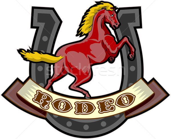 ロデオ 馬 馬蹄 レトロスタイル 実例 スクロール ストックフォト © patrimonio
