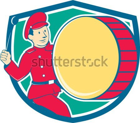 Golfer Swinging Club Circle Cartoon Stock photo © patrimonio