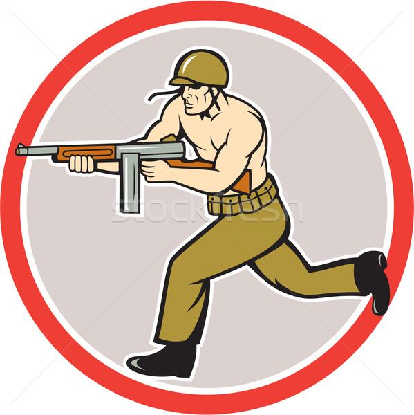 World War Two Soldier American Tommy Gun  Stock photo © patrimonio
