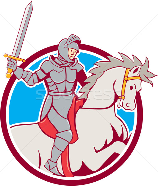 Knight Riding Horse Sword Circle Cartoon Stock photo © patrimonio