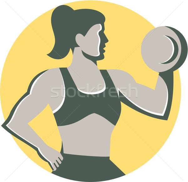 Female Lifting Dumbbell Circle Retro Stock photo © patrimonio