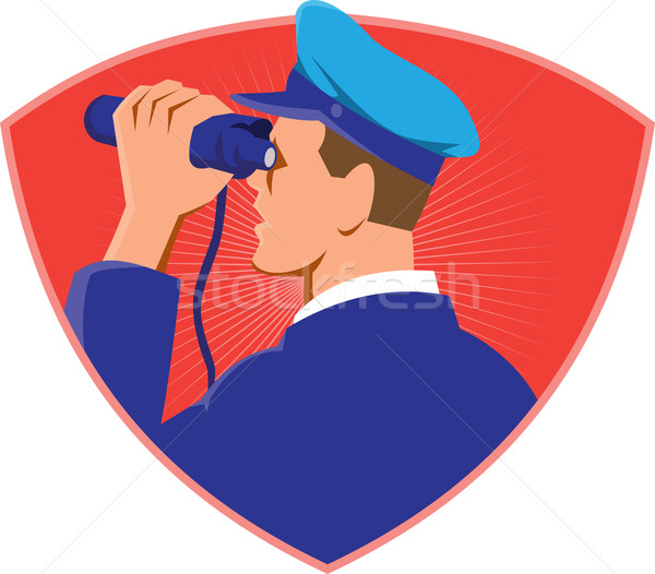 Navy Captain Looking Binoculars Shield Retro Stock photo © patrimonio