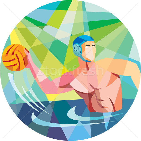 Water Polo Player Throw Ball Circle Low Polygon Stock photo © patrimonio