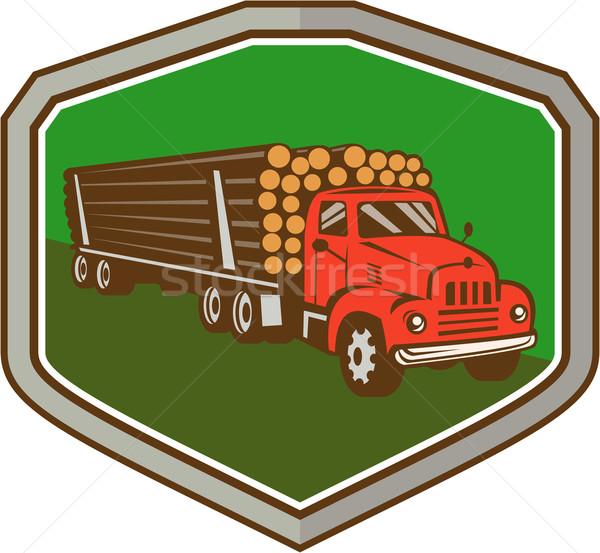 Truck Vintage Logging Shield Retro Stock photo © patrimonio