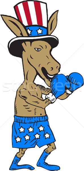 Demokrata osioł bokser maskotka cartoon ilustracja Zdjęcia stock © patrimonio