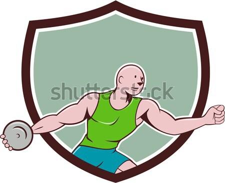 Kézilabda játékos dob labda címer rajz Stock fotó © patrimonio