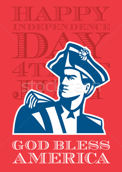 Independence Day Greeting Card-American Patriot Soldier Bust Stock photo © patrimonio