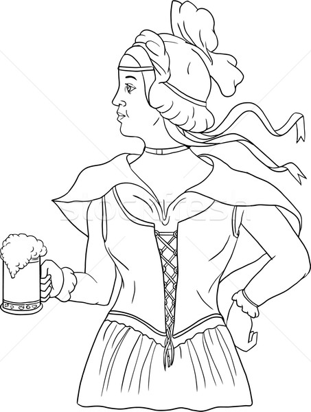 German Barmaid Serving Beer Drawing Stock photo © patrimonio