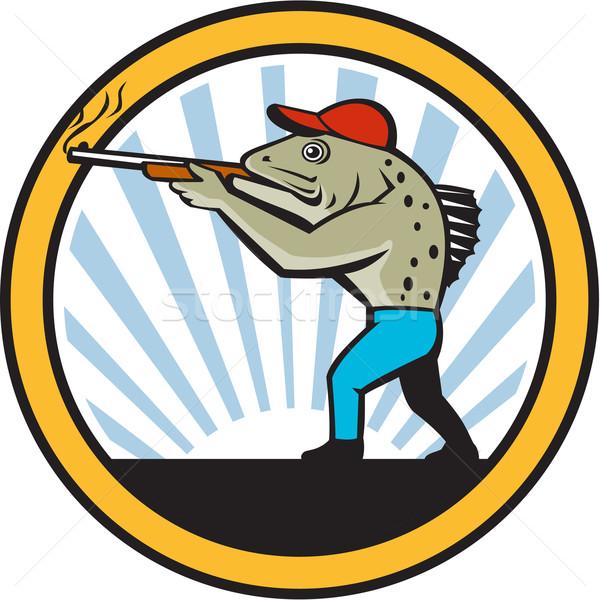 Spotted Sea Trout Hunter Shooting Circle Retro Stock photo © patrimonio