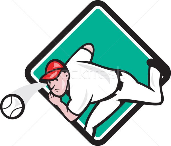 Baseball Pitcher Outfielder Throw Ball Diamond Cartoon Stock photo © patrimonio
