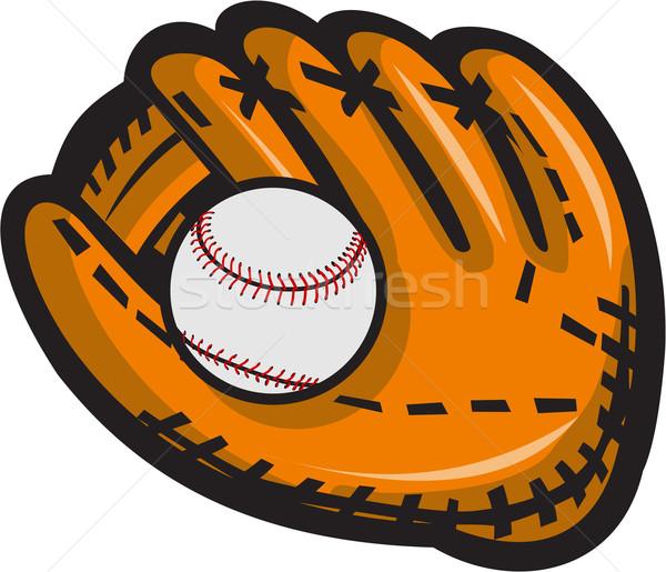 Baseball Glove Ball Retro Stock photo © patrimonio