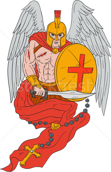 Spartan Warrior Angel Sword Rosary Drawing Stock photo © patrimonio