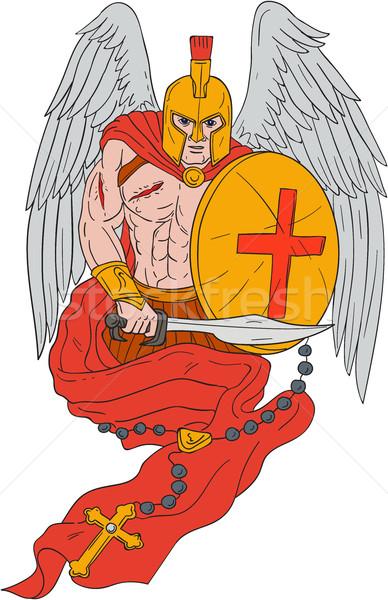Spartanisch Krieger Engel Schwert Rosenkranz Zeichnung Stock foto © patrimonio