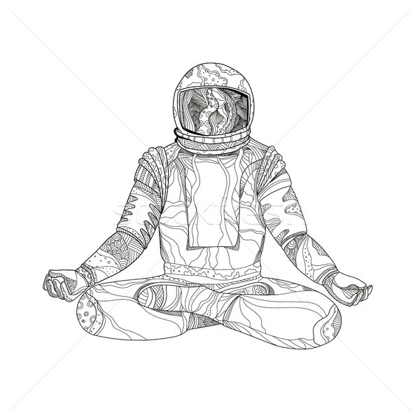 Astronaut Lotus Position Mandala Stock photo © patrimonio