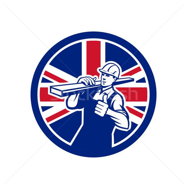 British Lumberyard Worker Union Jack Flag Icon Stock photo © patrimonio
