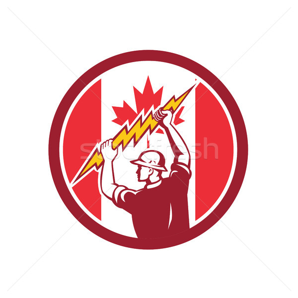 Canadian Electrician Lighting Bolt Canada Flag Icon Stock photo © patrimonio