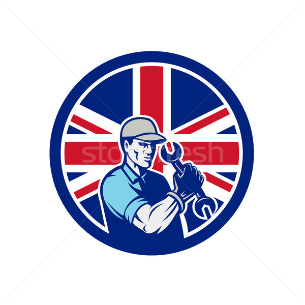 British Auto Mechanic Union Jack Flag Icon Stock photo © patrimonio