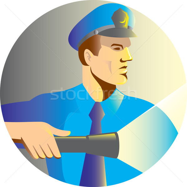 Security guard policeman officer flashlight torch Stock photo © patrimonio