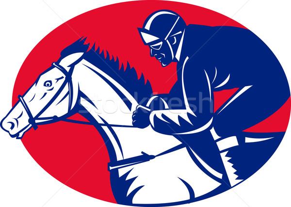 horse and jockey racing side view Stock photo © patrimonio