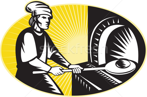 medieval baker baking bread pan oven retro Stock photo © patrimonio