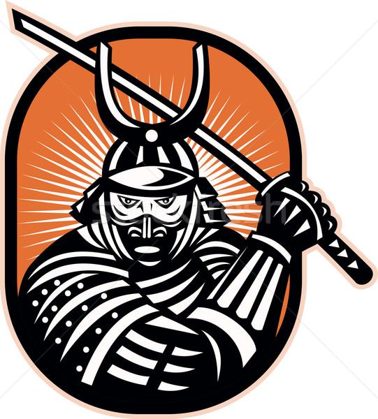 Japonês samurai guerreiro espada retro ilustração Foto stock © patrimonio