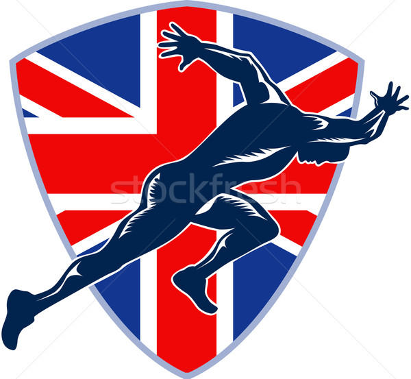 Runner Sprinter Start British Flag Shield Stock photo © patrimonio