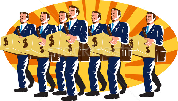 Businessman Banker Worker Carry Money Box Retro Stock photo © patrimonio