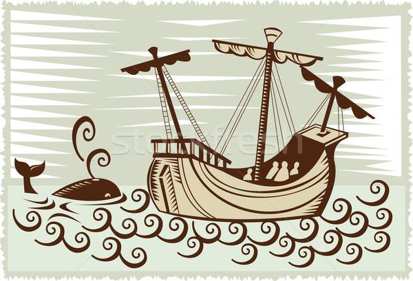 galleon sailing ship at sea with whale Stock photo © patrimonio