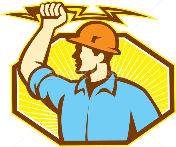 Electrician Wielding Lightning Bolt Stock photo © patrimonio