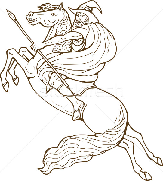 Norse God Odin riding horse Stock photo © patrimonio