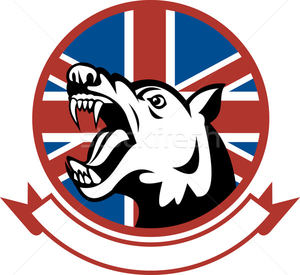 Angry Trained guard dog with british flag Stock photo © patrimonio