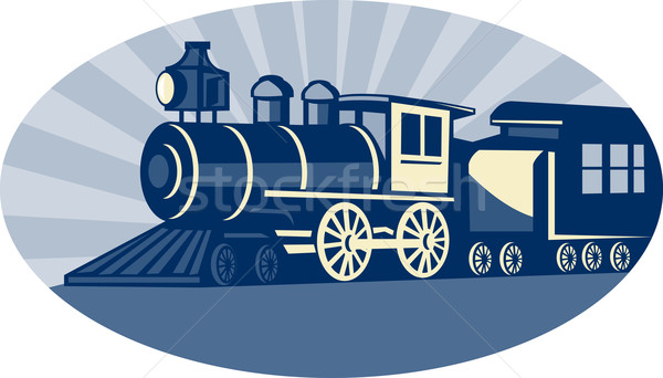 Stoom trein locomotief illustratie zijaanzicht ingesteld Stockfoto © patrimonio