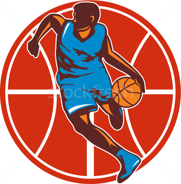 Basketball Player Dribble Ball Front Retro Stock photo © patrimonio