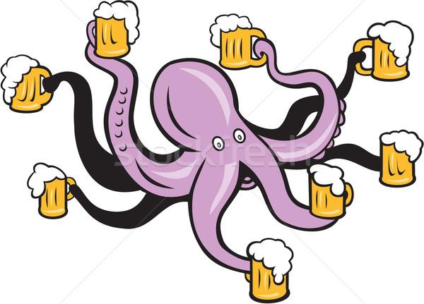 Polvo caneca cerveja ilustração isolado Foto stock © patrimonio