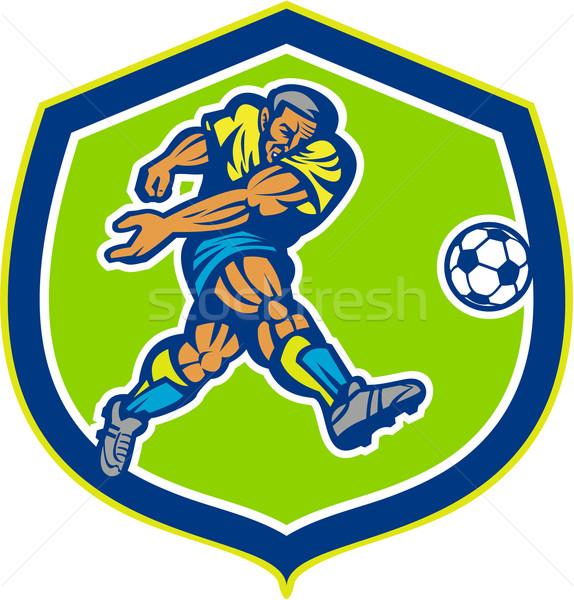 Foto stock: Fútbol · futbolista · pelota · retro · ilustración