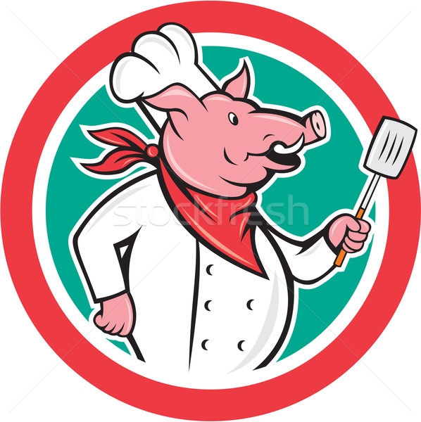 Pig Chef Cook Holding Spatula Circle Cartoon Stock photo © patrimonio