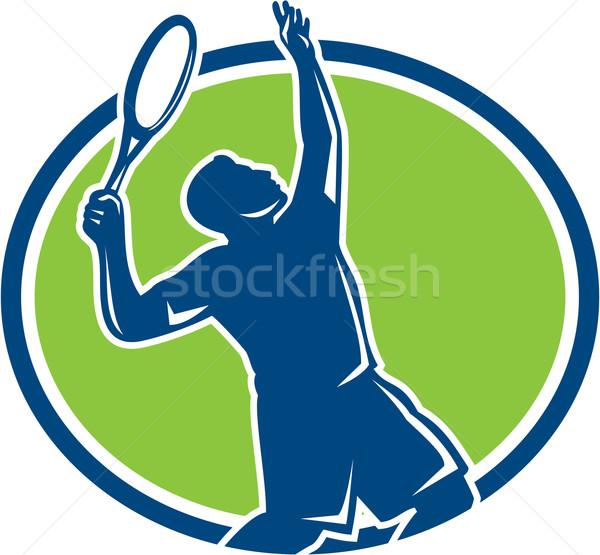 Tennis Player Racquet Serving Oval Retro Stock photo © patrimonio