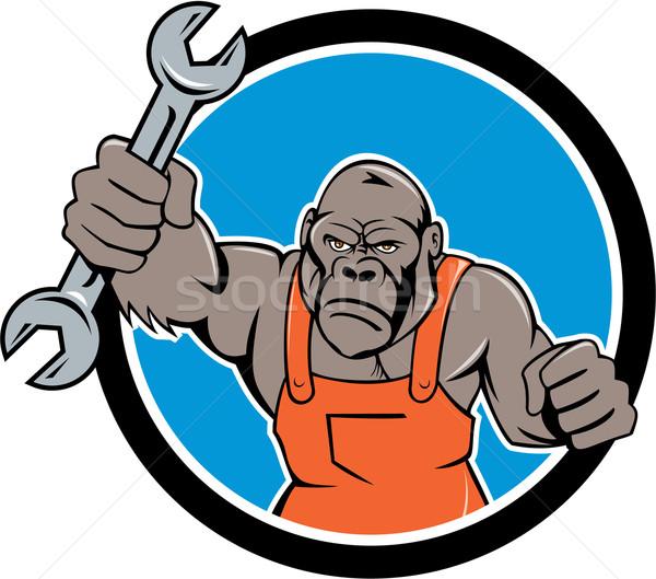 Boos gorilla monteur moersleutel cirkel cartoon Stockfoto © patrimonio