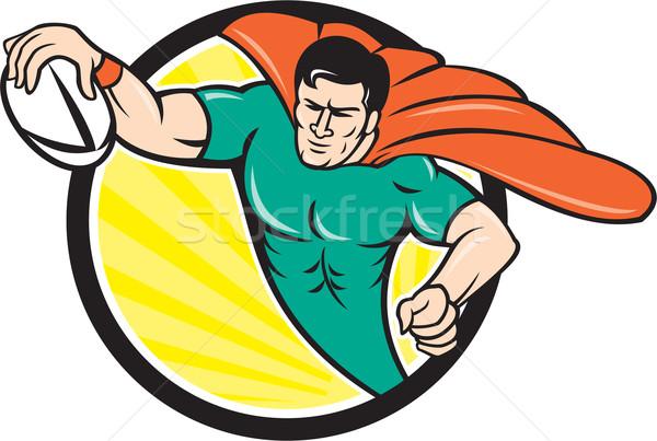 Superhero Rugby Player Scoring Try Circle Stock photo © patrimonio