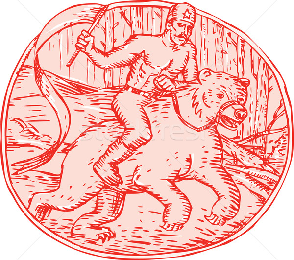 Russian Soldier Riding Bear Etching Stock photo © patrimonio