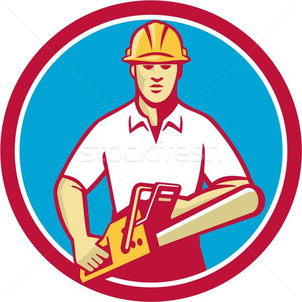 Tree Surgeon Holding Chainsaw Circle Retro Stock photo © patrimonio