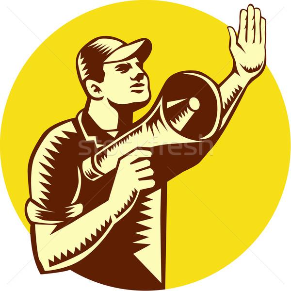 Worker Holding Megaphone Circle Woodcut Stock photo © patrimonio