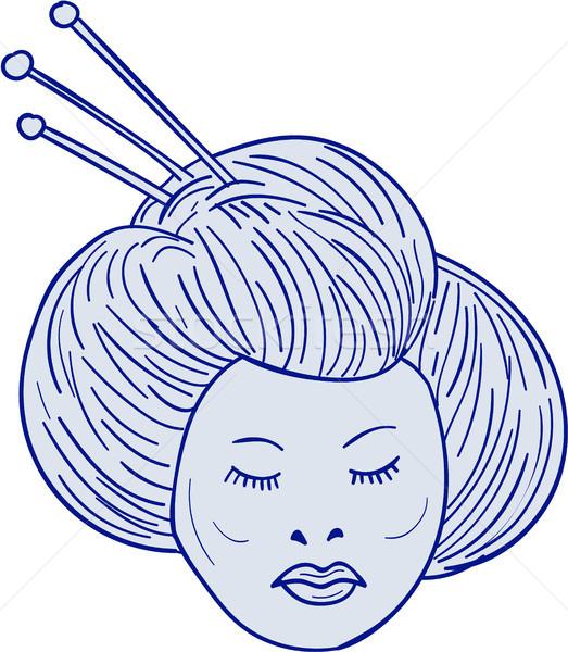 Geisha Girl Head Drawing Stock photo © patrimonio