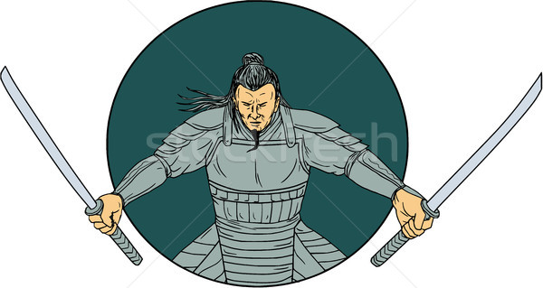 Samurai Warrior Wielding Two Swords Oval Drawing Stock photo © patrimonio