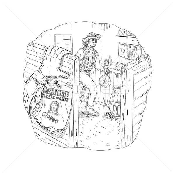 Cowboy Robbing Saloon Drawing Stock photo © patrimonio