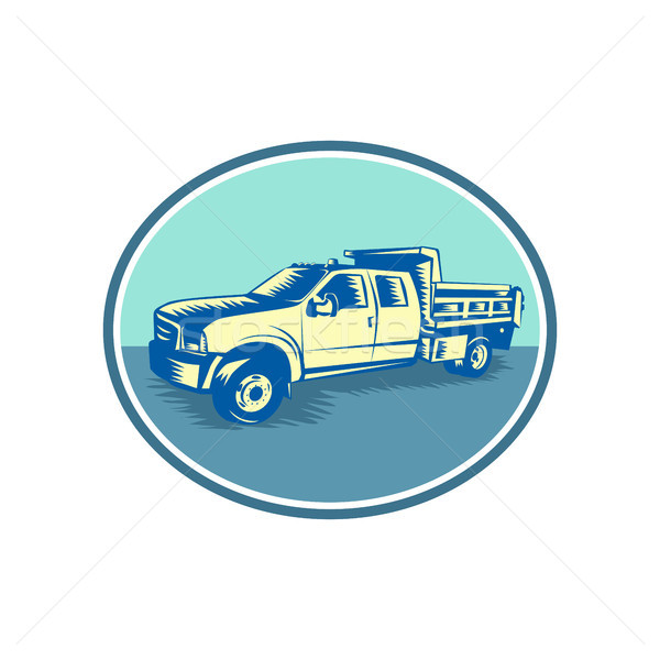 Tipper Pick-up Truck Oval Woodcut Stock photo © patrimonio